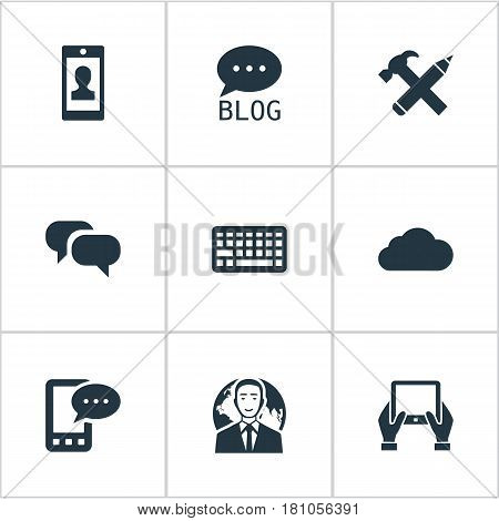 Vector Illustration Set Of Simple Blogging Icons. Elements Site, Overcast, Keypad And Other Synonyms Laptop, Gossip And Cloud.