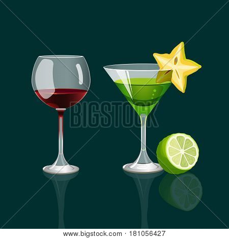 Glass of red wine and cocktail drink with carambola sticked on glass and green lime realistic vector illustration isolated on dark green background. Party drinks in elegant glassware with fresh fruits