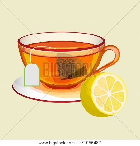 Transparent cup on saucer with tea bag and boiled water and fresh lemon realistic vector illustration isolated on white. Hot drink in teacup