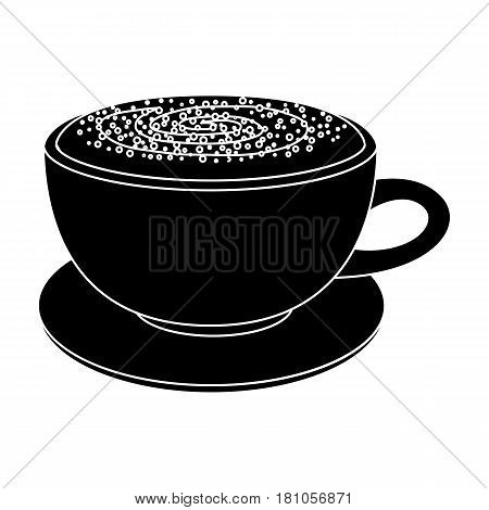 Cup of cappuccino.Different types of coffee single icon in black style vector symbol stock illustration .