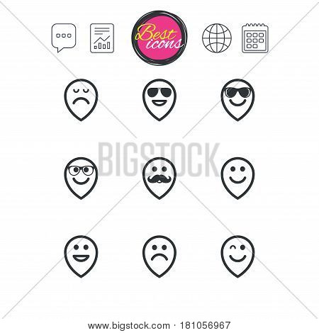 Chat speech bubble, report and calendar signs. Smile pointers icons. Happy, sad and wink faces signs. Sunglasses, mustache and laughing lol smiley symbols. Classic simple flat web icons. Vector