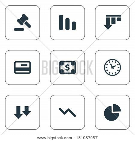 Vector Illustration Set Of Simple Situation Icons. Elements Info Graph, Descending, Tribunal And Other Synonyms Card, Diagram And Work.