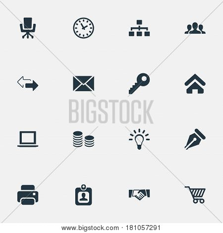 Vector Illustration Set Of Simple Business Icons. Elements Letter, Hard Money, Group And Other Synonyms Watch, Ink And Trading.