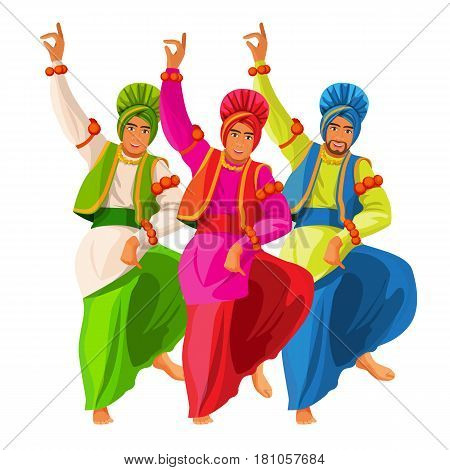 Bhangra dancers in national cloth vector illustration isolated on white. Men dressed in silk shirt and turban, loose loincloth tied around waist. Indian entertainment folk dance