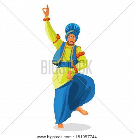 Bhangra dancer in national cloth vector illustration isolated on white. Man dressed in silk yellow shirt and blue turban and trousers, loose loincloth tied on waist. Indian entertainment folk dance