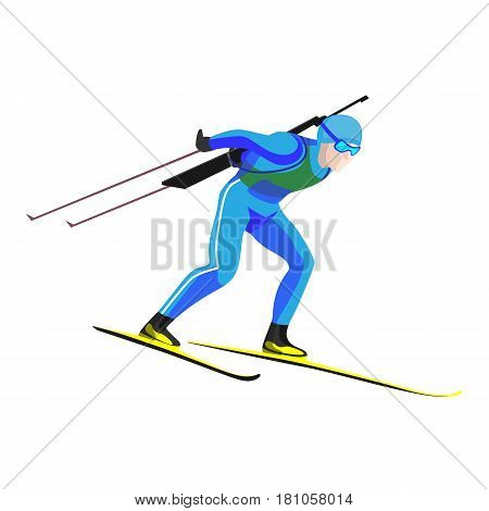 Biathlete skier in blue uniform racing down on high speed with two lightweight poles in hands on skis vector illustration isolated on white. Biathlon small-bore rifle behind his back