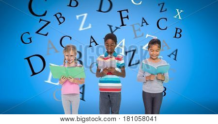 Digital composite of Digitally generated image of children holding books with letters flying against blue background