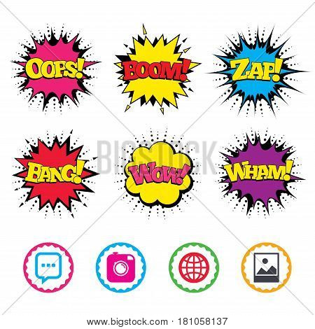 Comic Wow, Oops, Boom and Wham sound effects. Social media icons. Chat speech bubble and world globe symbols. Hipster photo camera sign. Landscape photo frame. Zap speech bubbles in pop art. Vector