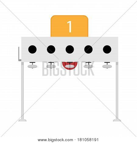 Biathlon number 1 target realistic vector illustration isolated on white background. Five circular self indicating targets flip from black to white when hit in each shooting round