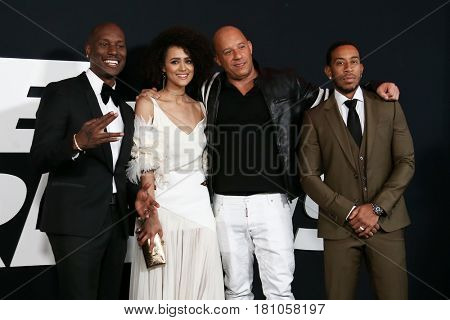 NEW YORK-APR 8: (L-R) Tyrese Gibson, Nathalie Emmanuel, Vin Diesel & Christopher 'Ludacris' Bridges at