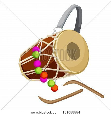 Drum percussion instrument double-headed dhol and wooden sticks vector illustration isolated on white. Barrel drum with leather handle and decorated by colorful balls accompanying device