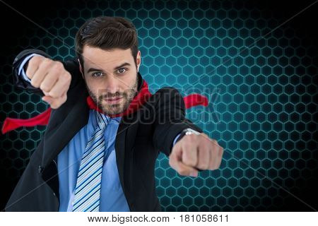Digital composite of Portrait of businessman gesturing while standing against patterned background