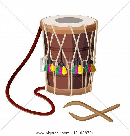 Drum percussion instrument double-headed dhol and wooden sticks vector illustration isolated on white. Barrel drum with leather handle and decorated by colorful elements and rope accompanying device