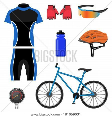 Set of bicycling icons vector illustration isolated on white background. Cycling sportswear uniform, protective helmet, red cut gloves, drinking bottle, color sunglasses and speedometer near bicycle