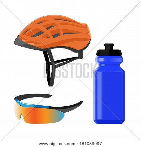 Cycling sportswear helmet, plastic drinking bottle, protective modern sunglasses bicycling icons vector illustration isolated on white background. Biking accessories set