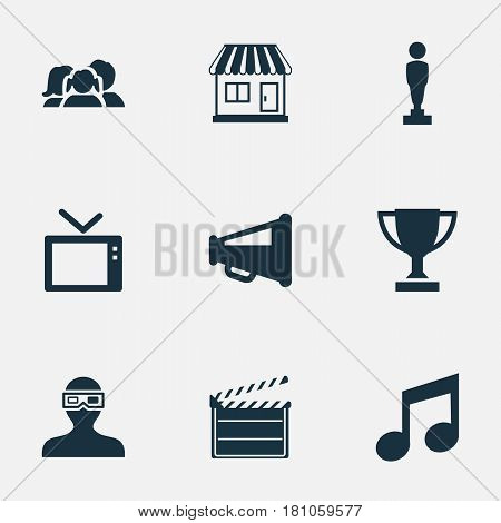 Vector Illustration Set Of Simple Cinema Icons. Elements Action, Megaphone, Grocery And Other Synonyms 3D, Glasses And Megaphone.