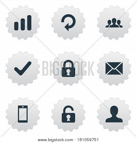 Vector Illustration Set Of Simple Application Icons. Elements Message, Open Padlock, Smartphone And Other Synonyms Refresh, Rotate And Cooperation.