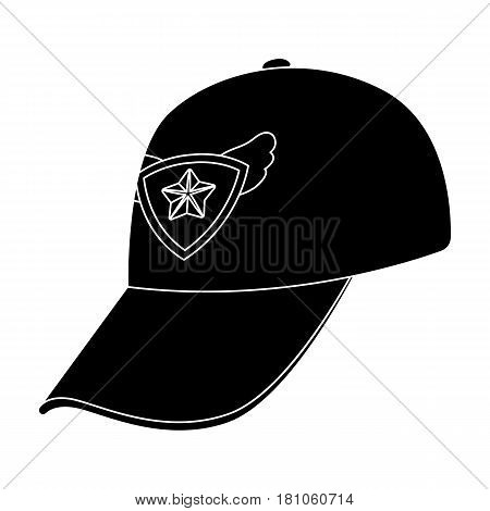 Cap football fan.Fans single icon in black  vector symbol stock illustration.