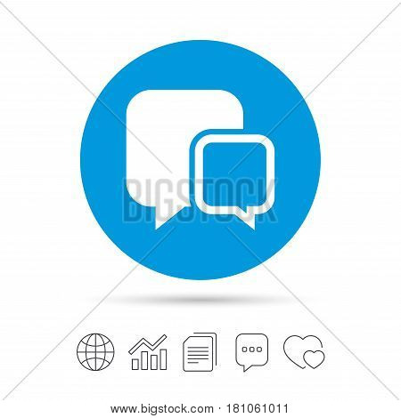 Chat sign icon. Speech bubbles symbol. Communication chat bubbles. Copy files, chat speech bubble and chart web icons. Vector