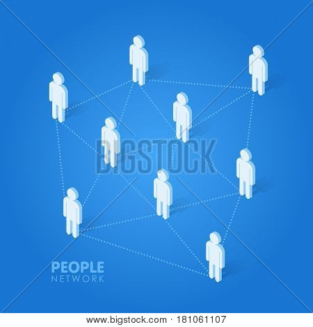 Social people network concept isometric vector illustration.