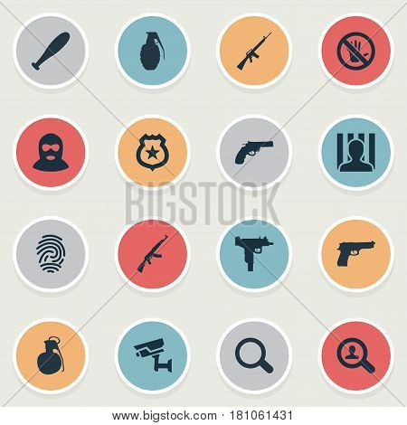 Vector Illustration Set Of Simple Offense Icons. Elements Violence, Controlling System, Pistol And Other Synonyms Stop, Crime And Cell.