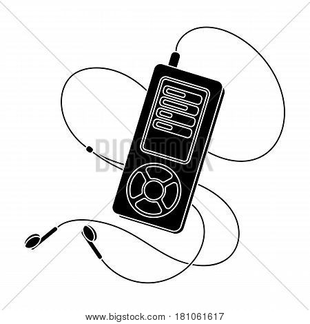 MP player for listening to music during a workout.Gym And Workout single icon in black style vector symbol stock web illustration.