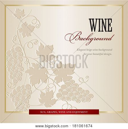 Wine card menu with hand drawn art grapes branch vector background.