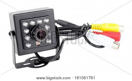 Miniature high definition digital video camera isolated on a white background