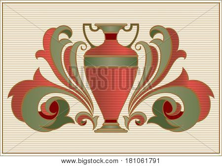 Ancient amphora for wine on vintage richly decorated background. Vector illustration.