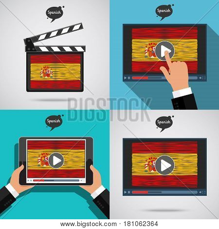 Concept of learning languages. Study Spanish set. Movie production clapper board and screen with hand drawn Spanish flag. Film in Spanish.
