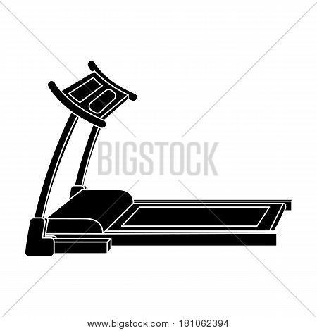 Treadmill. Running simulator for training in the gym.Gym And Workout single icon in black style vector symbol stock web illustration.
