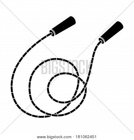 Rope with handles.Jump rope endurance training.Gym And Workout single icon in black style vector symbol stock web illustration.
