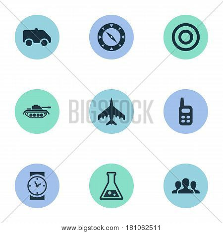 Vector Illustration Set Of Simple Terror Icons. Elements Target, Magnet Navigator, Emergency And Other Synonyms Scope, Hospital And Combat.