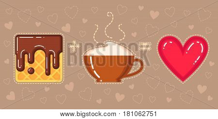 vector illustration of waffle with chocolate glaze cappuccino cup and red heart on brown background