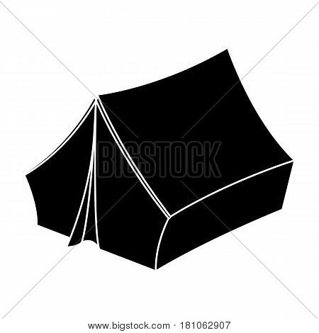 Blue tent with pegs.Hippy single icon in black style vector symbol stock illustration .