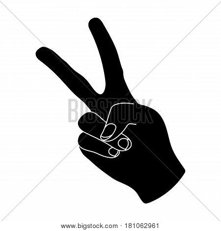 Peace symbol gesture.Hippy single icon in black style vector symbol stock illustration .