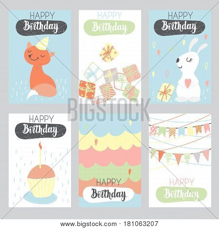 Set of 6 children's Birthday backgrounds with cute fox hare cake and flags. Vector illustration.