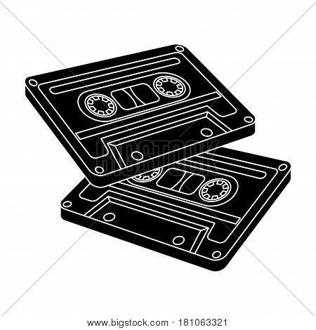 Cassettes for tape recorder.Hippy single icon in black style vector symbol stock illustration .