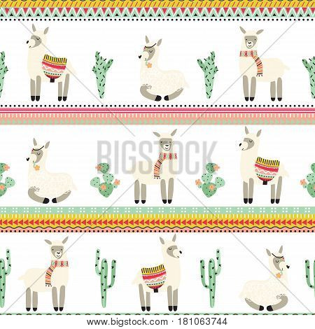 Seamless pattern with lama and cactus and strips with an Aztec pattern on white background. Vector illustration.
