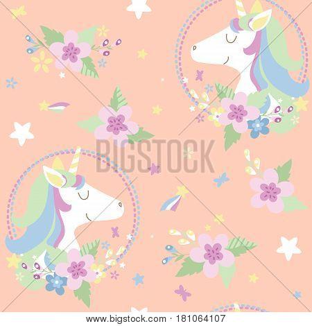Vector seamless pattern for kids. Magic miracle background with unicorns and flowers. Can be used as decor for playroom gift wrapping textiles. Vector illustration