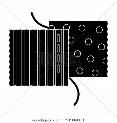 Different fabrics are sewn with thread.Sewing or tailoring tools kit single icon in black style vector symbol stock web illustration.