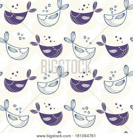 Seamless pattern with cute and funny whales on a white background. Vector illustration. Cool stylish wallpaper