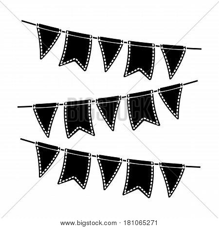 Festive colorful ribbons.Party and parties single icon in black style vector symbol stock web illustration.