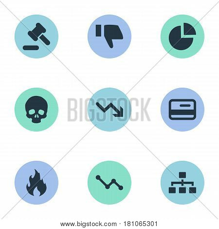 Vector Illustration Set Of Simple Trouble Icons. Elements Tribunal, Circular Diagram, Plastic Card And Other Synonyms Fire, Court And Finger.