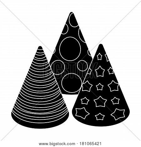 Caps in the form of cones for party.Party and parties single icon in black style vector symbol stock web illustration.