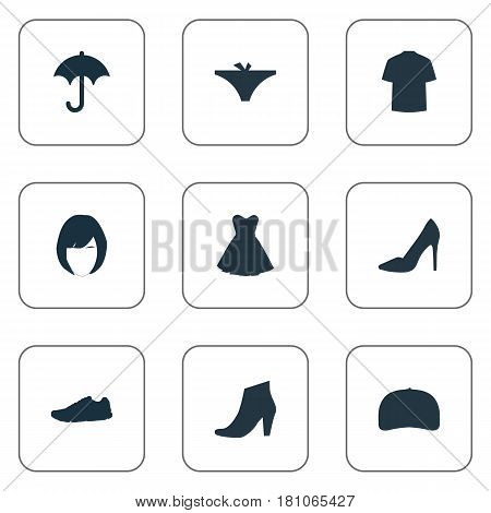Vector Illustration Set Of Simple Garments Icons. Elements Panties, Brolly, Exercise Foorwear And Other Synonyms Heel, Running And Top.
