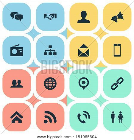 Vector Illustration Set Of Simple Transmission Icons. Elements Walkie, Wave, House Location And Other Synonyms Radio, Walkie And Office.