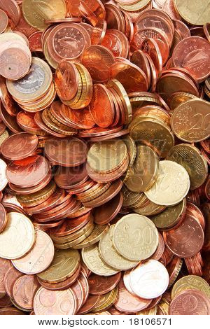 Close up of coins
