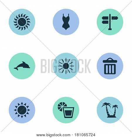 Vector Illustration Set Of Simple Seaside Icons. Elements Crossroad, Garbage, Bikini And Other Synonyms Mammalian, Drink And Woman.