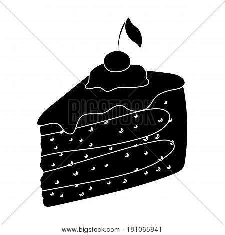 Sweet cake with cherry and leaf.Party and parties single icon in black style vector symbol stock web illustration.